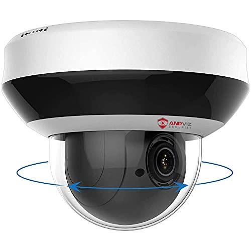 Anpviz 4MP POE IP PTZ Dome Kamera Outdoor 4X optischer Zoom, IP Überwachungskamera IR Nachtsicht wetterfest, mit SD Kartensteckplatz Audio Alarm, Bewegungserkennung kompatibel(PTZIP204WX4IR)