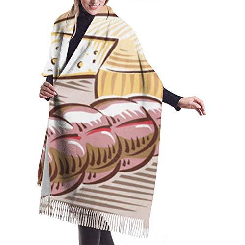 Womens Winter grote sjaal kasjmier sjaal gevoel kaas Salami Ham sjaal stijlvolle sjaal wraps zachte warme deken sjaal voor vrouwen 27x78 inch