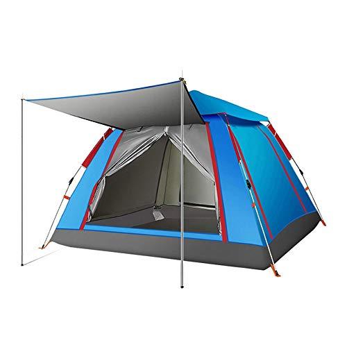 Rahmen Zelte Zelt im Freien 3-4 Personen Strand Thick Regendicht 2 Personen Camping Automatische Double Camping Ideal für Camping Wandern Außen (Color : Sky Blue, Size : Large Silver Glue)