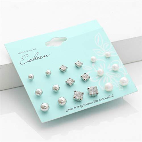 #N/A Juego de 9 pendientes de perlas de imitación de imitación redondas, simples y elegantes, estilo retro, joyería para mujeres y niñas, regalo de cumpleaños, plata