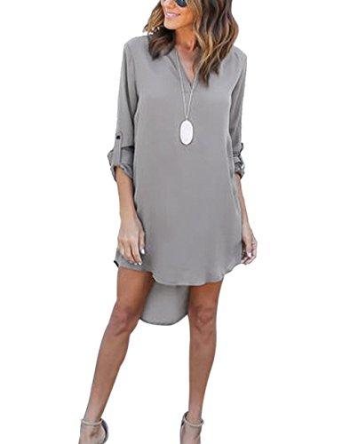 Yidarton Damen Tunika Chiffon Blusen Sommer Oberteile Kleider Casual V-Ausschnitt Dünne Langarm Loose Shirt Longshirt, Grau - M