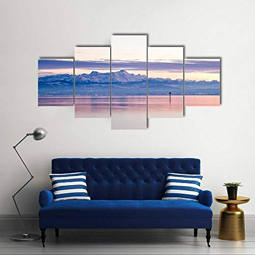runtooer Bilder Dekorative Malerei Spray Malerei Leinwand Malerei 5 Stück Modern Blick vom Bodensee in den Schweizer Alpenstern Leinwand Wandbild, Möbel Art Deco, Rahmen
