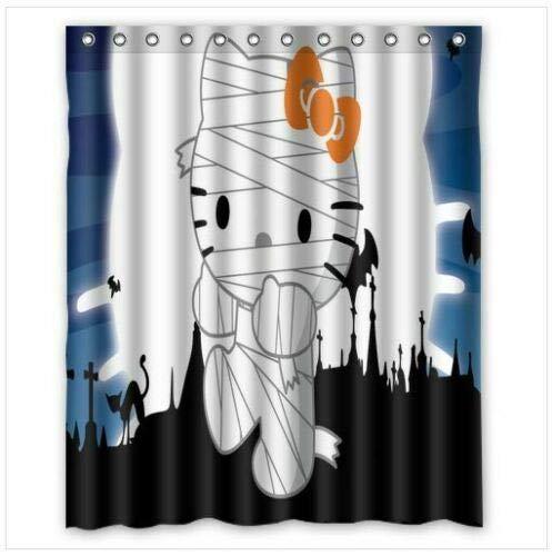 WENHUI Hello Kitty Mumy Duschvorhang, strapazierfähiger Stoff, Schimmeleffekt, mit 12 Haken, 180 x 180 cm