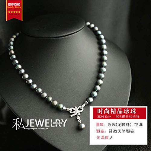 Haespsd Conjunto de Pulsera de Collar de Perlas Naturales Pulsera de Cadena de clavícula Joyería Hecha a Mano 44cm