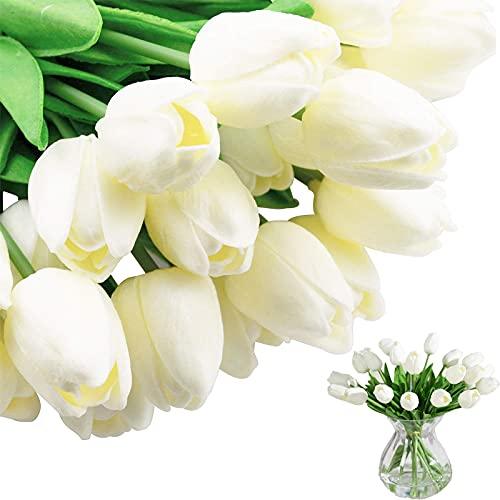 PU Künstliche Tulpen Latex Weiße Tulpe Künstliche Champagner Tulpe Innendekoration Tulpen Künstliche Blumen Gefälschter Tulpenstrauß Latex Tulpenblume 10 Stück für Haus Büro DIY Blumenarrangements