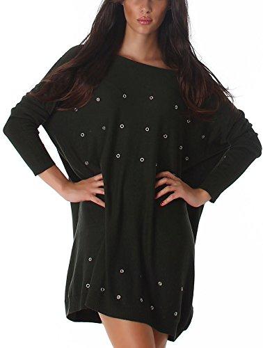 Jela London Damen Pullover Nieten Rock Wellness Oversize Schlabber-Pulli weit Feinstrick Sweatshirt Punk Loch, Grün 36 38 40