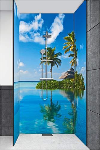 Artland Duschrückwand Eck mit Motiv Fliesenersatz Alu Rückwand Dusche Duschwand Bad 3 Segmente Wunschmaß Strand Karibik Insel Palme Meer T5MX