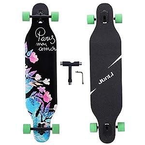 Junli 41 Inch Freeride Longboard Skateboard - Skateboard Cruiser for Cruising, Carving and Downhill(Flowers)