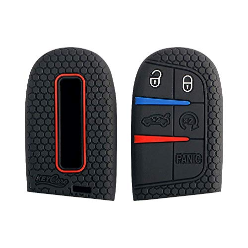 A.M.E. 2PCS Key Fob Cover for Jeep Dodge Grand Cherokee Challenger Charger Dart Durango Journey Chrysler case Protector Sleeve (Push Button Start Models) (Black 2PCS)