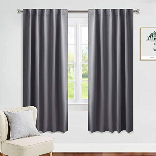 PONY DANCE Window Treatments Curtains - Gray Blackout Drapes Home Decor Light Blocking Thermal Insulated Back Tab/Rod Pocket Curtain Panels for Living Room, W 42 by L 63 Inches, Grey, 1 Pair