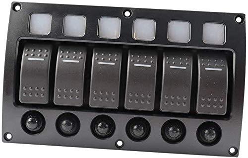 Namvo Boat Car Marine - Panel de interruptores de 8 velocidades, 3 pines e interruptor de potencia, resistente al agua, panel LED CC 12/24 V, interruptor de aluminio