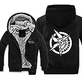 KMM-JH Hoodie Casual Camisa De Entrenamiento Sudadera De Forro Polar con Capucha Y Cremallera Completa Hombre Logo Sweat Hood Anime Movies & TV Black 2XL