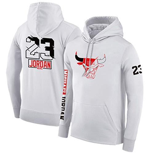Basket Baskie Pullover Bulls No. 23 Jordan Boys Lakers No. 23 Lebron James Sudadera con Capucha Hombre Blanco y Negro Edición Especial Bulls 23-B-XXXL