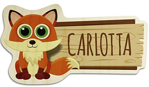 printplanet Türschild aus Holz mit Namen Carlotta - Motiv Fuchs - Namensschild, Holzschild, Kinderzimmer-Schild