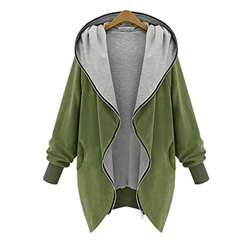 TWIFER Damen Zipper Hoodie Kapuzen Jacke Parka Trenchcoat Windbreaker