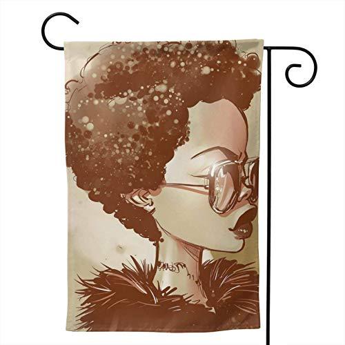 XJ-JX Black Girl Magic Afro Gafas de sol de temporada Familiar de doble cara bandera de jardín al aire libre divertidas banderas decorativas para jardín patio de 71 x 101 cm