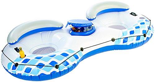 infactory Schwimmring 2 Personen: 2-Personen-Poolbar mit Getränkefach und Rückenlehne, bis 160 kg (Luftmatratze)