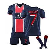 ZYYQSL Herren Fußball Trikot 2021 Paris Home # 7 Mbappé # 10 Neymar Fußball Gedenkhemd Kits Weiche atmungsaktive Trainingskleidung Erwachsene Kinder Fußball Trikot
