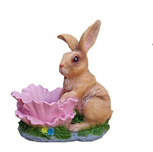 ZSQZJJ Decoración del hogar Adornos Estatuas Escultura,Decoración de jardín Patio Balcón Estatua de Conejo Maceta Arreglo de jardinería Tanque de Flores