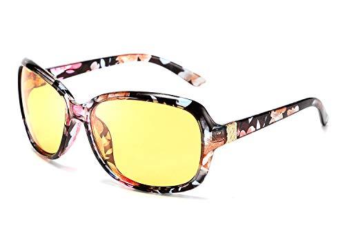 FEISEDY Classic Womens Night Glasses Driving Anti Glare Wrap Around Yellow Sunglasses B2548