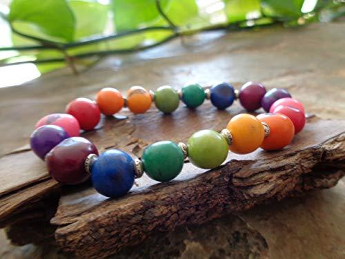 ✿ COLORIDO PULSERA ETHNO EN COLORES DE ARCO IRIS bracelet pulsera natural única de Bolivia, América del Sur, elástica
