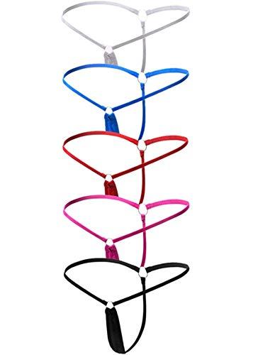 quancheng 5er-Pack Damen G-String Mini Strings Tanga T-Back Stringtangas Reizwäsche Höschen Bikinislips Micro Slip Erotik Unterwäsche Dessous Unterhose Pants