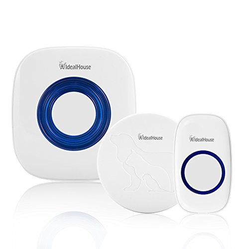 AsyPets Wireless Doorbell Chime Smart Pet Training Door Bell Small, Medium, Large Dog Cat, Reaches 500 Ft Distance, 52 Chime Tunes, 4 Volume Levels, LED Indicator, 2 Transmitters, 1 Plug-in Receiver