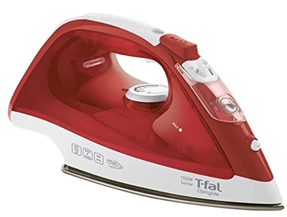 T-fal FV1535U0 Optiglide Non-Stick Ceramic Soleplate Steam Iron with Anti-Drip and Auto-off System, 1550-Watt, Red