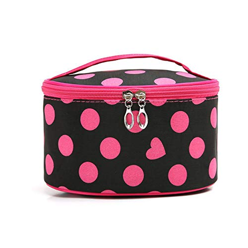 Cylinder Cosmetic Bag_Portable Dot Cylinder Cosmetic Bag Dot Imperméable Cosmetic Bag, Black + Rose Red
