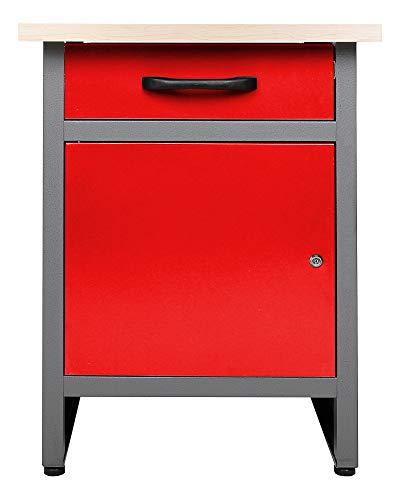 Ondis24 Werkbank rot Werktisch Werkstatteinrichtung mit Schublade und Tür abschließbar 60 x 60 cm Arbeitshöhe 85 cm TÜV geprüft