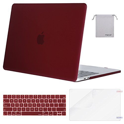 MOSISO MacBook Pro 13 inch Case 2019 2018 2017 2016 Release A2159 A1989 A1706 A1708, Plastic Hard Shell Case&Keyboard Cover&Screen Protector&Storage Bag Compatible with MacBook Pro 13, Marsala Red
