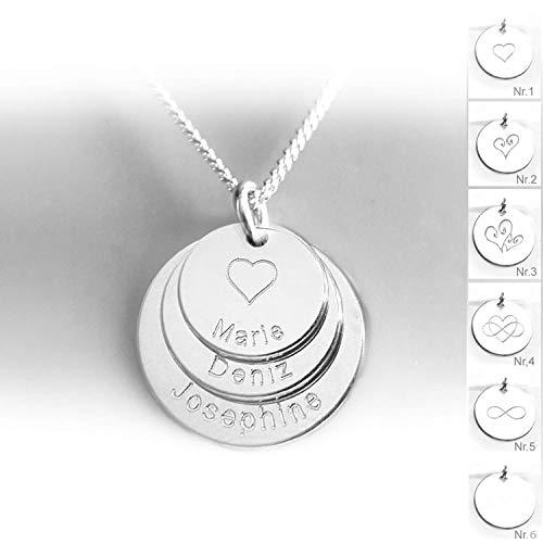 Familienkette, Drei Runde Anhänger mit Namen, Herz, Gravur, 925 Silber, Namenskette