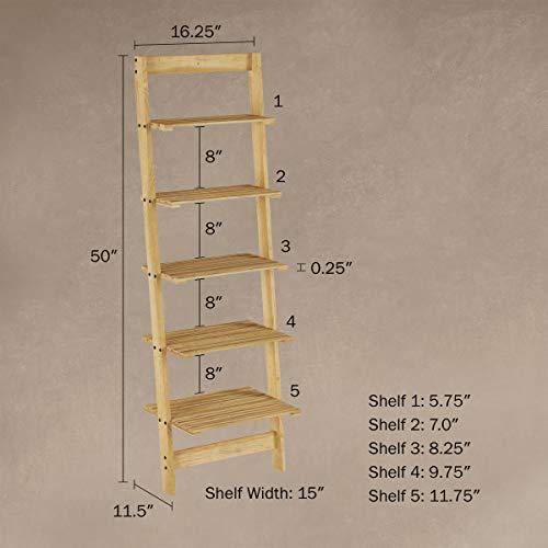 Lavish Home 5-Tier Ladder Bookshelf- Leaning Decorative Shelves, Pickled Oak