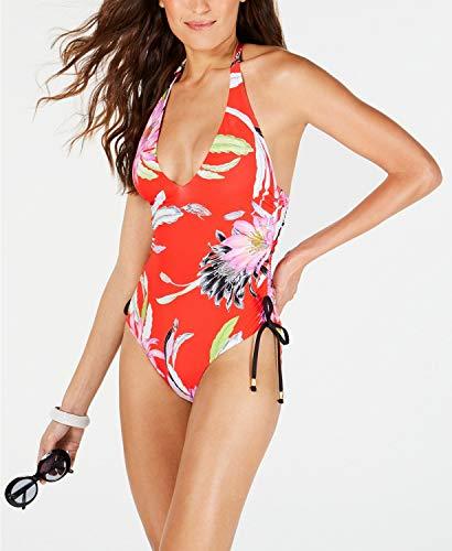 Traje de banho feminino Trina Turk com perna alta, frente em V, Flame//Shangri La Floral, 8