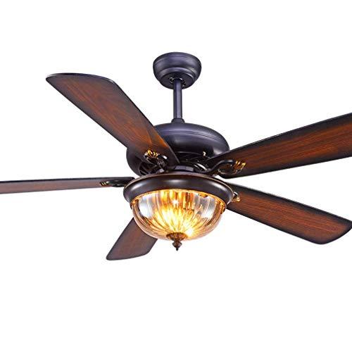 Holz Deckenventilator Licht mit Fernbedienung Effiziente Stummschaltung Haushaltsdekoration Amerikanischen Retro Innenbeleuchtung/Beleuchtung/Wohnzimmer/Küche Deckenventilator (Braun)