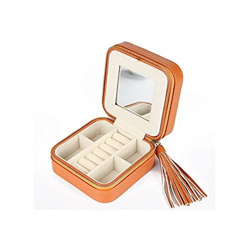 Kudiro Joyero pequeño organizador de joyas, caja de almacenamiento para pendientes, anillos, collares, pulseras, broches, regalo para mujeres y niñas (naranja)