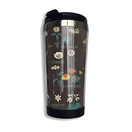 XCNGG Flores para abejas (color) Variedad Toalla facial Pesadilla antes de Navidad Café Taza de viaje Taza Vaso aislado al vacío de acero inoxidable 13.5 Oz