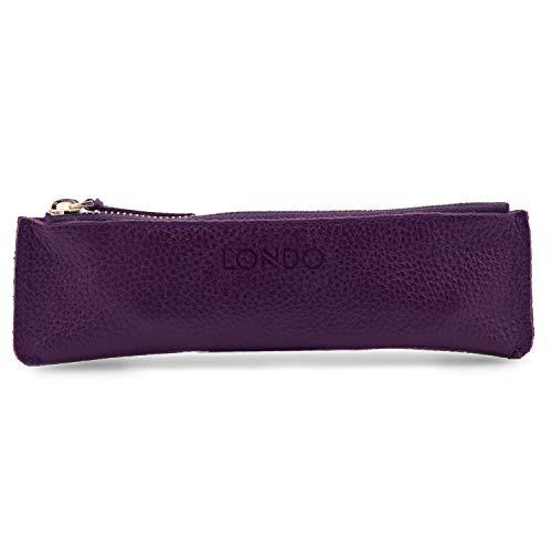 Londo OT-GeLetPenCase-Zppr-Prple Cuero de la Genuino Estuche con cierre de cremallera, Bolsa de la Bolígrafos (Púrpura)
