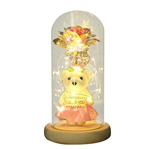 WXGY Glas Rose Blume Geschenk, künstliche Blume Rose mit LED-Lichterkette in Glaskuppel Geschenke Galaxy Rose Blume