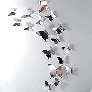 Meterk 12 Pcs Butterfly Wall Stickers, Sliver 3D Butterfly Wall Stickers DIY Art Decor 3D Wall Decals for Home, Bathroom, ...