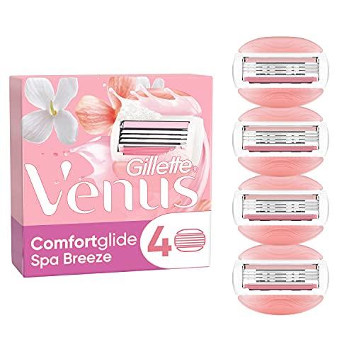 Gillette Venus ComfortGlide Spa Breeze Cuchillas de Afeitar Mujer, Paquete de 4 Cuchillas de Recambio