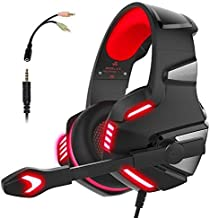 Gaming Headset for PS4 Xbox One, Gaming Headphones with Mic Stereo Surround Noise Reduction LED Lights Volume Control for ...
