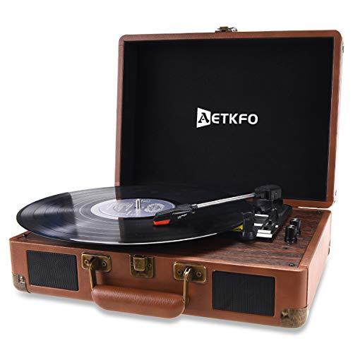 AETKFO Tocadiscos de Vinilo, Tocadiscos Bluetooth con Altavoces,Tocadiscos Vinilo Vintage,Tocadiscos Estéreo,Reproductor de Vinilo,3 Velocidades 33 45 78 RPM,Salida RCA Conector para Auriculares USB
