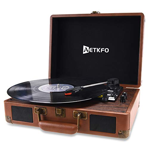 Record Player AETKFO 3-Speed Vinyl Turntable Record with Portable Suitcase Built in 2 Stereo Speakers,Bluetooth,Aux/USB-in, Headphone Jack and RCA Output,PU Leather Surface(Brown)