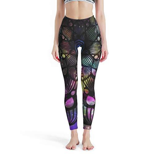 XJJ88 -Luxe Vrouwen Zachte Enkel Broek, Mandala Leggings Depot Capri Magische Mandala Patroon Print Zomer Capri Panty Leggings voor Vrouwen Sport Gym Sexy