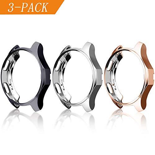 Cerike Funda para Samsung Galaxy Watch 42mm de parachoques, protector accesorios de marco resistente a la compresión de TPU para reloj samsung galaxy watch 42mm(42mm, Plata+Gris+Rose Gold)