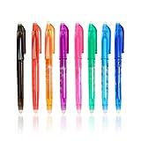 Penna a sfera cancellabile con inchiostro gel, punta fine da 0,5 mm, pulizia a caldo, confezione da 8 colori…
