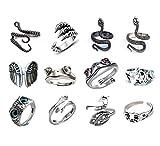 12PCS Frog Rings Set Snake,Hug,Cat Ring Vintage Retro Gothic Cute Animal Open Adjustable Alloy Eboy Punk Ring Set for Men Women Boys
