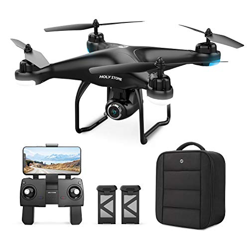 Holy Stone HS120D GPS Drone with Camera for Adults 2K UHD FPV, Quadcotper with Auto Return Home, Follow Me, Altitude Hold, Way-points Functions, Includes 2 Batteries and Carrying Backpack