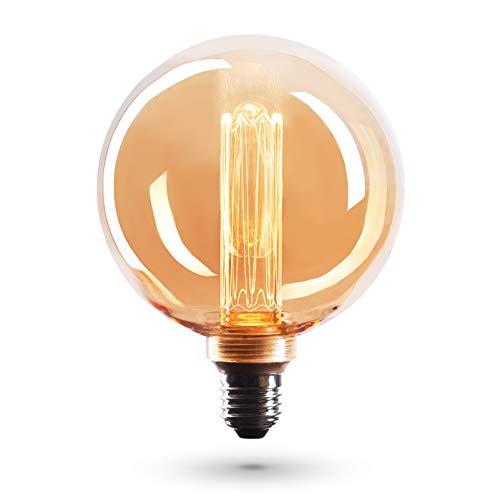 CROWN LED Edison Illusion Filament Glühbirne E27 Fassung, Dimmbar, 3,5W, 1800K, Warmweiß, 230V, EL26, Antike Filament Beleuchtung im Retro Vintage Look